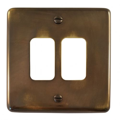 G&H CAN92 Standard Plate Polished Aged Brass 2 Gang MK Compatible Grid Plate
